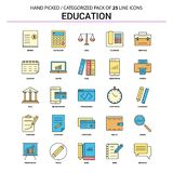 Ställde den plana linjen in symbol för utbildning - affärsidésymboler planlägger royaltyfri illustrationer