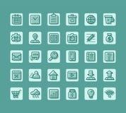 Ställde den plana symbolen in för affären för rengöringsduk och mobilvektor Arkivfoton