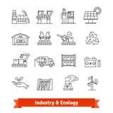 Ställde den tunna linjen in konstsymboler för bransch och för ekologi royaltyfri illustrationer