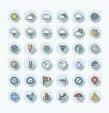 Ställde den tunna linjen in symboler för vektorlägenhetfärg med väder- och meteoöversiktssymboler stock illustrationer