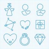 Ställde den tunna linjen in symboler för vektorn för Sanka valentins dag Arkivfoton