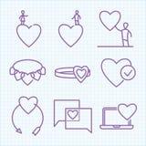 Ställde den tunna linjen in symboler för vektorn för Sanka valentins dag Royaltyfria Bilder