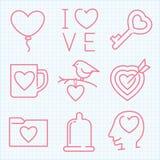 Ställde den tunna linjen in symboler för vektorn för Sanka valentins dag Arkivfoto