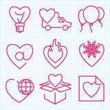 Ställde den tunna linjen in symboler för vektorn för Sanka valentins dag Arkivbild