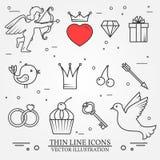 Ställde den tunna linjen in symboler för vektorn för Sankt valentin dag- och förälskelseth Royaltyfria Bilder
