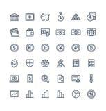Ställde den tunna linjen in symboler för vektorn med bankrörelse- och finansöversiktssymboler stock illustrationer
