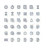 Ställde den tunna linjen in symboler för vektorn med datum- och tidsöversiktssymboler stock illustrationer
