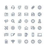 Ställde den tunna linjen in symboler för vektorn med kontakten oss, tekniska supporttjänstöversiktssymboler royaltyfri illustrationer