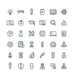 Ställde den tunna linjen in symboler för vektorn med vetenskaps- och laboratoriumforskningöversiktssymboler royaltyfri illustrationer