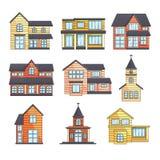 Ställde den yttre främre sikten in för moderna hus med taket, träkyrkor på tom bakgrund vektor illustrationer