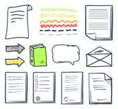 Ställde det pappers- dokumentet för kontoret och bubblasymboler in vektorn stock illustrationer