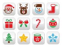 Ställde färgrika knappar in för jul - jultomten, gåva, trädet, Rudolf Royaltyfria Foton