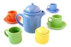 ställde färgrika koppar in för kaffe tea Royaltyfri Foto