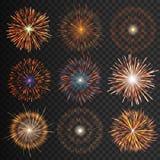 Ställde festliga mönstrade fyrverkerier isolerad bristning in i olika former som mousserar pictograms royaltyfri illustrationer