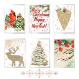 Ställde glad jul in för vattenfärg för feriehälsningkort stock illustrationer