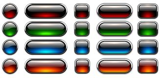 ställde glansiga illustrationer in för knappar vektorn Fotografering för Bildbyråer
