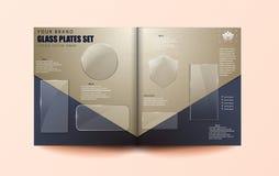 Ställde moderna genomskinliga glass plattor in för vektor på öppen tidskriftsbakgrund Eps10 - materielvektor vektor illustrationer