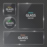 Ställde moderna genomskinliga glass plattor in för vektor på prövkopiabakgrund EPS10 stock illustrationer
