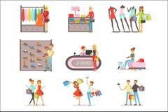 Ställde shoppa och köpande kläder för folk och skor in, illustrationer för vektorn för klädlagret isolerade inre färgrika royaltyfri illustrationer
