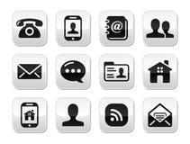 Ställde svarta knappar in för kontakt - mobilen, telefonen, e-post stock illustrationer