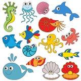 Ställde undervattens- djur in för havet, samlingen av mallen för färgläggningboken, gruppen av digitala beståndsdelar för översik stock illustrationer