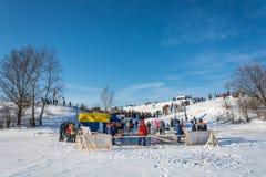 Ställe av issimningkonkurrens på Volgaet River, på segern Arkivfoto