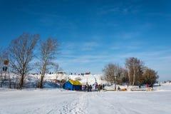 Ställe av issimningkonkurrens på Volgaet River, på segern Fotografering för Bildbyråer
