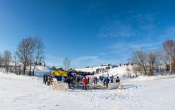 Ställe av issimningkonkurrens på Volgaet River, på segern Royaltyfri Foto