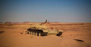 Ställe av striden på Bir Kora under det tchadiska libyska konfliktaka kriget på 1987 i Ennedi, Tchad royaltyfri foto
