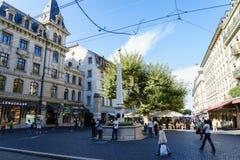 Ställe du Molard i Genève Arkivbild