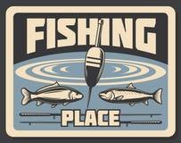 Ställe för att fiska den fiskeriaffischbobberen och fisken Fotografering för Bildbyråer