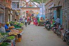 Ställe för central marknad i Bhuj, Indien Royaltyfri Foto