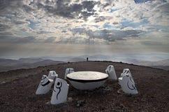 Ställe för meditation i den Negev efterrätten arkivfoton