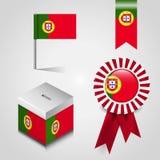 Ställe för Portugal landsflagga på Vote asken, bandemblembaner och översiktsstiftet royaltyfri illustrationer