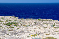 Ställe, var var Azure Window efter kollaps i den Gozo ön, Malta Arkivfoto