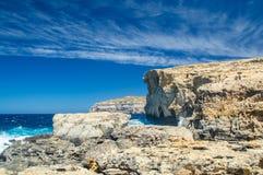 Ställe, var var Azure Window efter kollaps i den Gozo ön, Malta Arkivbilder