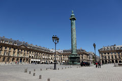 Ställe Vendôme i Paris, Frankrike Arkivfoton