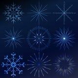 Ställer crystal snöflingor in för den dekorativa vektorn - övervintra seriegem-konst Royaltyfri Bild