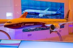 Ställer ut nya modeller av Boeing flygplan 737, 747, 787, 777 Ryssland, Moskva i Augusti 2015 Royaltyfria Foton