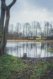Stället av en fiskare på banken av floden, sjön i hösten bland vasserna Fotografering för Bildbyråer