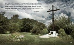 Stället av massgraven i den tidigare tyska koncentrationsläger Plaszow, Polen royaltyfri fotografi