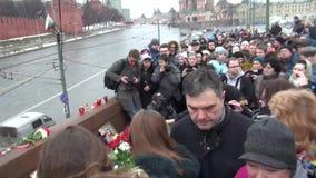 Stället av mordet av politikern Boris Nemtsov lager videofilmer