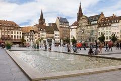 Stället Kleber i Strasbourg. Alsace Frankrike Royaltyfria Foton