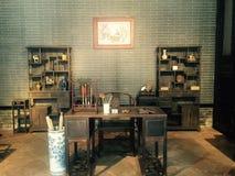 Stället, var forntida kines läste böcker, den fina arkitektoniska stilen arkivfoton
