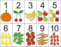 Ställning av en till tio som därefter lokaliseras den önskade antalsfrukten eller grönsakerna Arkivbild