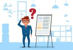 Ställning för affärsman i regeringsställning över Flip Chart Pondering And Thinking vektor illustrationer