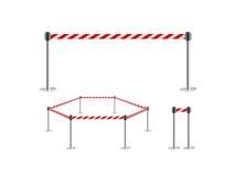 Ställning för bälte för mobil staketbarriär isolerad röd vit, illustration 3d Royaltyfria Bilder