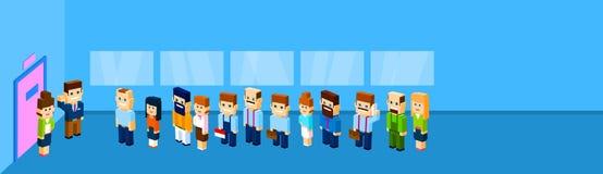 Ställning för folkmassa för grupp för affärsfolk i linje till att vänta för dörrkontor stock illustrationer