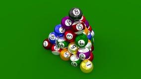 Ställning för pöl för åtta boll som högst konstrueras som pyramiden Royaltyfri Fotografi