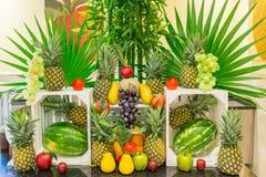 Ställning för tropiska frukter i en semesterortrestaurang Mexico 2015 Arkivbild